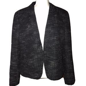 Ann Taylor LOFT Black Tweed Long Sleeve Blazer